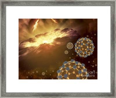 Buckyballs Floating In Interstellar Framed Print by Stocktrek Images