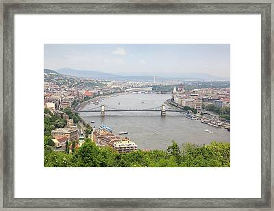 Budapest With Chain Bridge Framed Print by Romeo Reidl