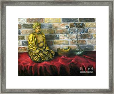 Buddha And Candle Framed Print