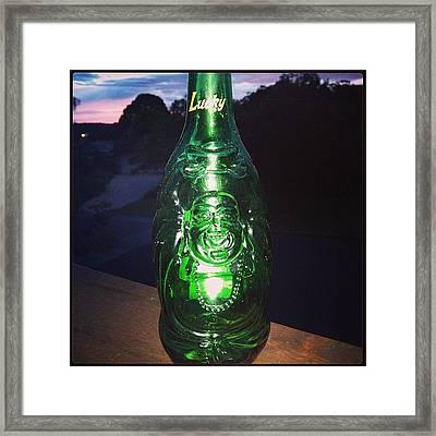 Buddha Beer Bottle #buddha #bottle Framed Print