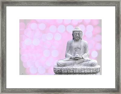 Buddha Enlightment Red-yellow Framed Print by Hannes Cmarits