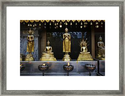 Buddha Figures At Wat Doi Suthep Framed Print by Toby Williams