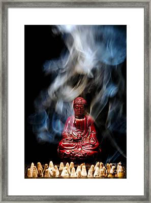 Buddha In Smoke Framed Print by Olivier Le Queinec
