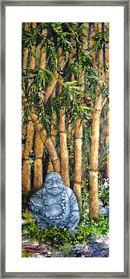 Buddha In The Bamboo Garden Framed Print by Annie St Martin