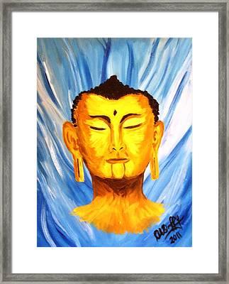 Buddha On Blue Framed Print by Deborah Duffy