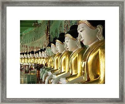 Buddha Row Framed Print by Nina Papiorek