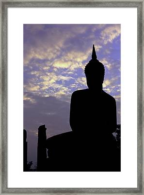 Buddha Silhouette Framed Print by Thomas  von Aesch