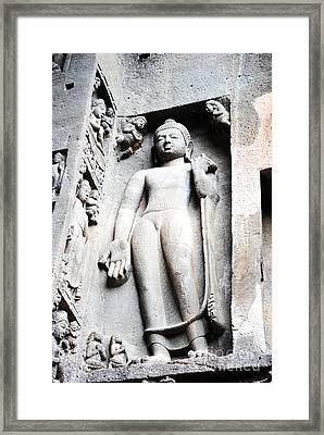 Buddha Statue At Ajanta Caves India Framed Print