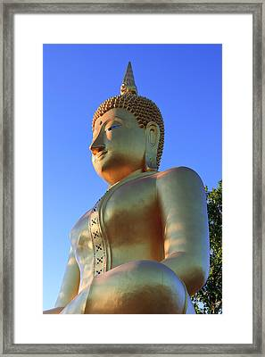 Buddha With Sunset Framed Print by Thomas  von Aesch