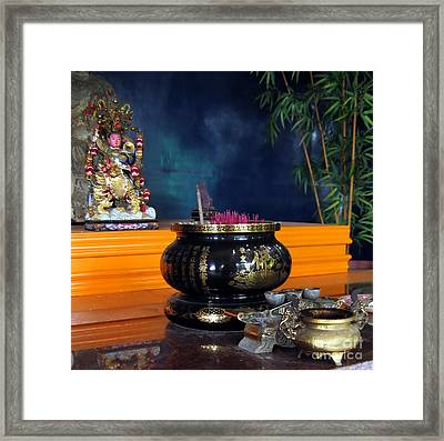 Buddhist Altar Framed Print by Yali Shi