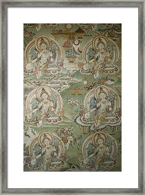 Buddhist Painting Inside The Jokhang Framed Print by Gordon Wiltsie