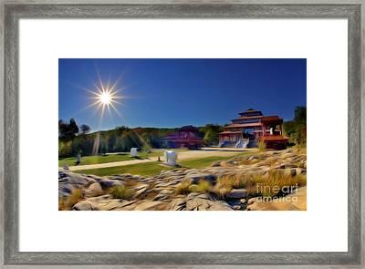 Buddhist Temple At Sunset Framed Print