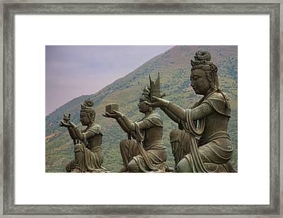Buddhistic Statues Framed Print by Karen Walzer