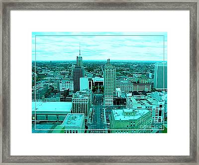 Buffalo New York Aerial View Cool Colors Effect Framed Print by Rose Santuci-Sofranko