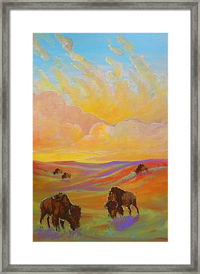 Framed Print featuring the painting Buffalo Sunrise by Jenn Cunningham