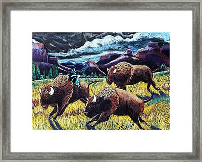 Buffaloes Race The Storm Framed Print by Harriet Peck Taylor