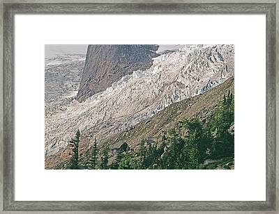 Bugaboo Glacier Flows Around The Hounds Framed Print