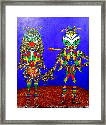 Framed Print featuring the painting Bugs Adventure- Princess-wanna Frog? by Marie Schwarzer