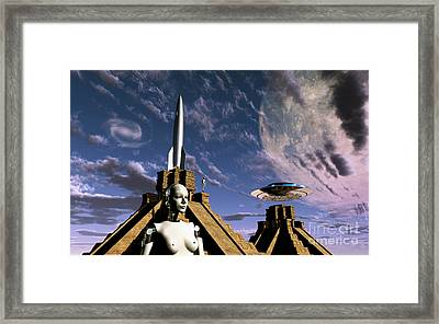 Builders Of The Mayan Pyramids Visit Framed Print by Mark Stevenson