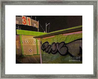 Framed Print featuring the photograph Building 31 Rimini Beach Graffiti by Andy Prendy