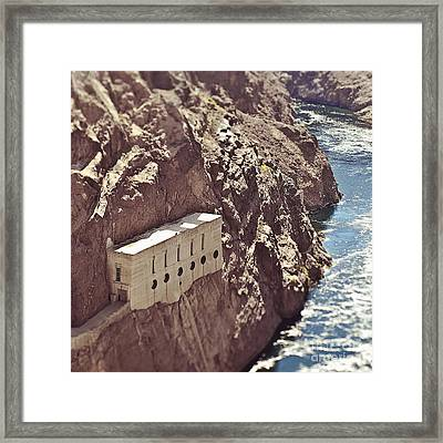 Building Built Into River Valley Cliff Framed Print by Eddy Joaquim