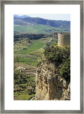 Building On Outcrop With Countryside Beyond, Ronda, Andalucia, Spain, Europe Framed Print by Roberto Gerometta