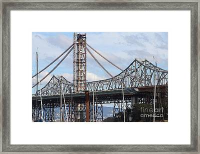 Building The New San Francisco Oakland Bay Bridge . 7d7774 Framed Print by Wingsdomain Art and Photography