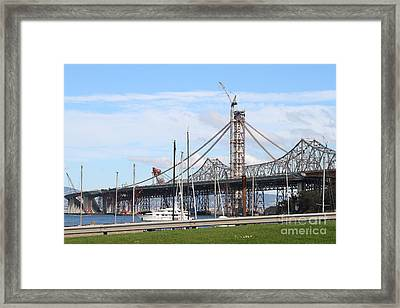 Building The New San Francisco Oakland Bay Bridge 7d7775 Framed Print by Wingsdomain Art and Photography