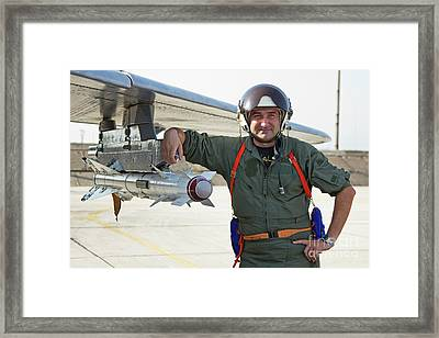 Bulgarian Air Force Pilot Stands Next Framed Print by Anton Balakchiev