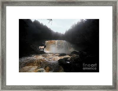 Framed Print featuring the photograph Bull Elk In Front Of Waterfall by Dan Friend