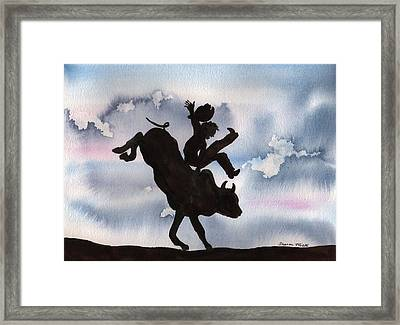 Framed Print featuring the painting Bull Riding by Sharon Mick