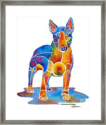 Bull Terrier Dog Art Framed Print by Jo Lynch