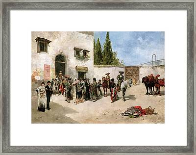 Bullfighters Preparing For The Fight  Framed Print by Vicente de Parades