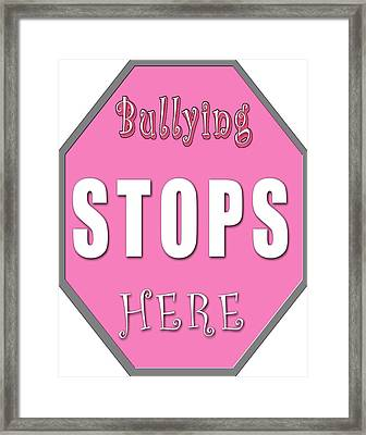 Bullying Stops Here Framed Print by Linda Diane Taylor
