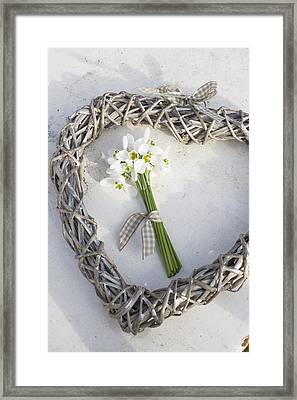 Bunch Of Snowdrops (galanthus Nivalis) In Heart Wreath Framed Print