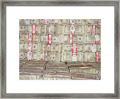 Bundles Of Five Dollar Bills Framed Print by Adam Crowley