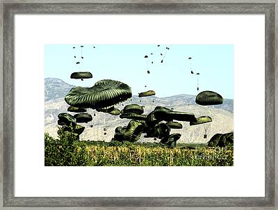 Bundles Of Food And Water Are Air Framed Print