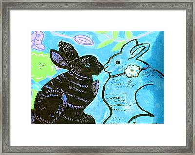 Bunnies In Love Framed Print by Patricia Lazar