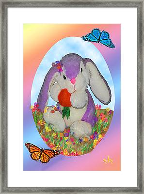 Bunny And Strawberry Framed Print