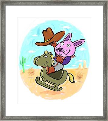 Bunny Cowboy Framed Print by Scott Nelson