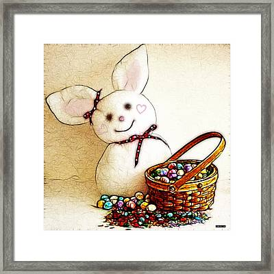 Bunny N Eggs Wall Art Framed Print by Methune Hively
