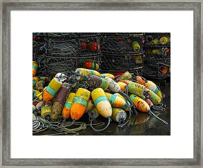 Buoys And Crabpots On The Oregon Coast Framed Print