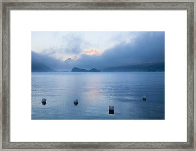 Buoys On Lake Sils, Engadin, Switzerland Framed Print by F. Lukasseck