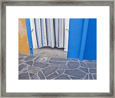 Framed Print featuring the photograph Burano Venice Italy Photograph Blue White Orange Wall Art by Artecco Fine Art Photography