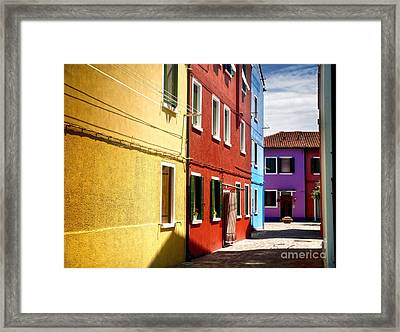 Burano Island - Colorful Houses Framed Print by Gregory Dyer