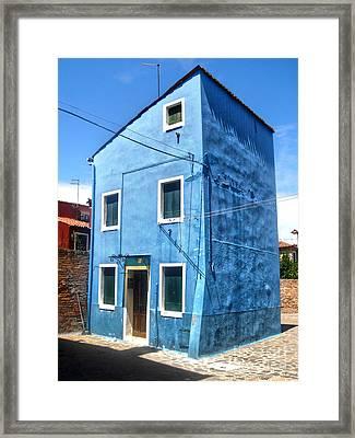 Burano Island - Strange Blue House Framed Print by Gregory Dyer