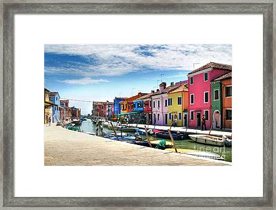Burano Island Canal Framed Print by Gregory Dyer