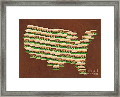 Burger Town Usa Map Brown Framed Print by Andee Design