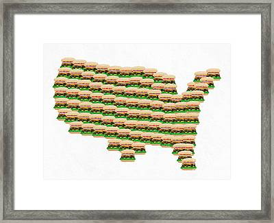 Burger Town Usa Map White Framed Print by Andee Design