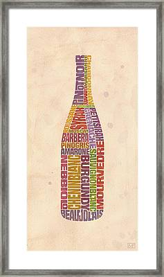 Burgundy Wine Word Bottle Framed Print by Mitch Frey